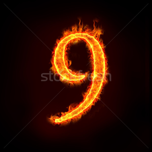 Stock photo: fire numbers in flames, nine 9
