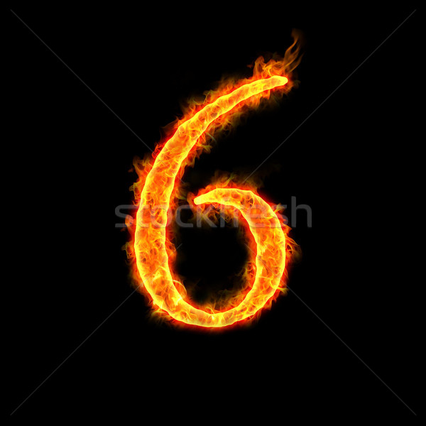 Stock photo: fire numbers, 6