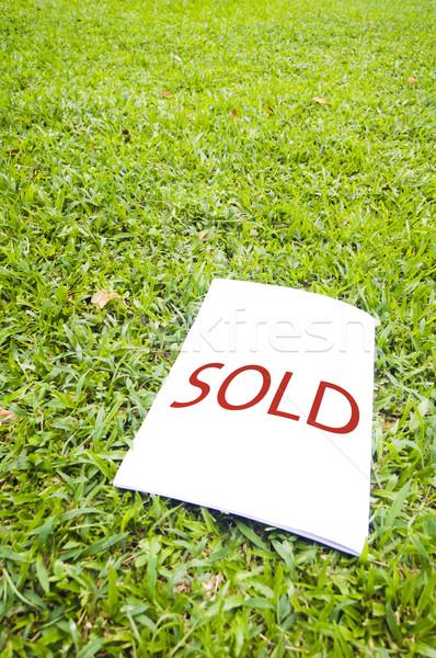 Uitverkocht teken grasveld onroerend home verkoop Stockfoto © mtkang