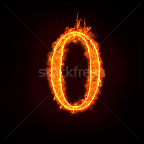 Fuoco numeri fiamme pari a zero fiamma abstract Foto d'archivio © mtkang