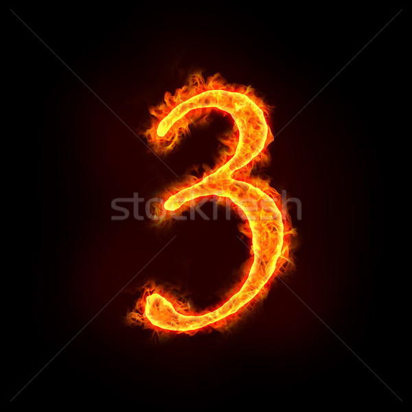 fire numbers in flames, three 3  Stock photo © mtkang