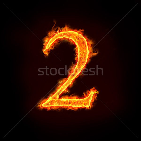 fire numbers in flames, two 2  Stock photo © mtkang