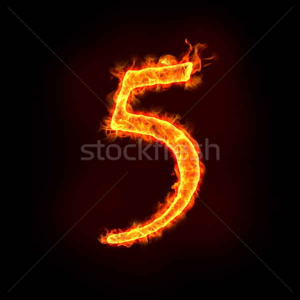 fire numbers in flames, five 5  Stock photo © mtkang