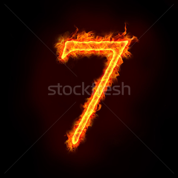 Stock photo: fire numbers in flames, seven 7