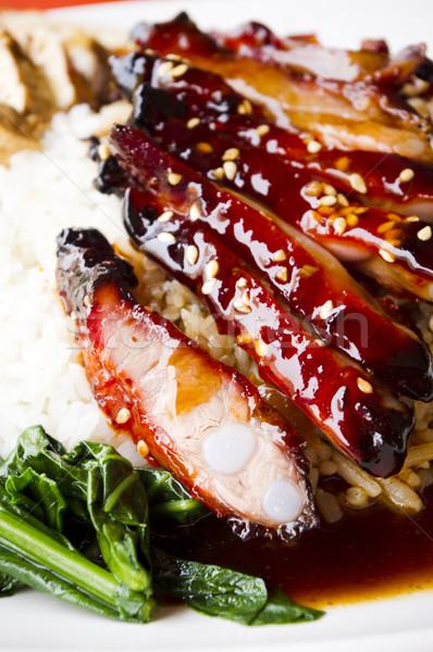 Barbekü domuz eti pirinç Çin stil Stok fotoğraf © mtkang