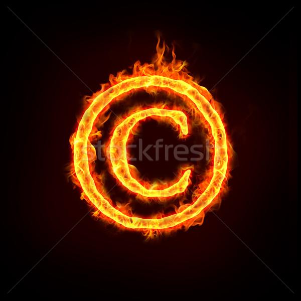 Szerzői jog figyelmeztetés felirat égő láng fogalmak Stock fotó © mtkang