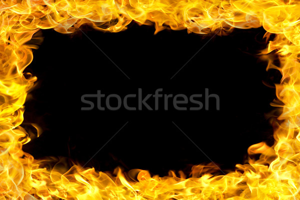 Yangın sınır Alevler bo siyah Stok fotoğraf © mtkang