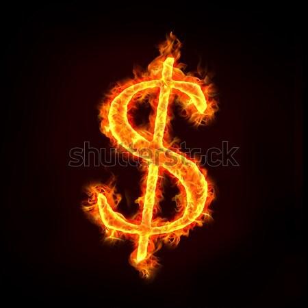 Dolar işareti yangın Alevler para kavramlar imzalamak Stok fotoğraf © mtkang