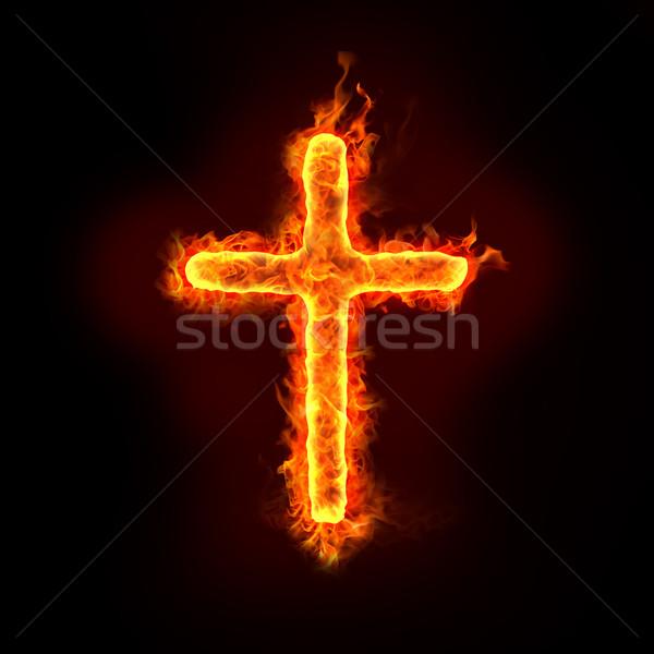 Hristiyan çapraz yanan imzalamak Alevler din Stok fotoğraf © mtkang