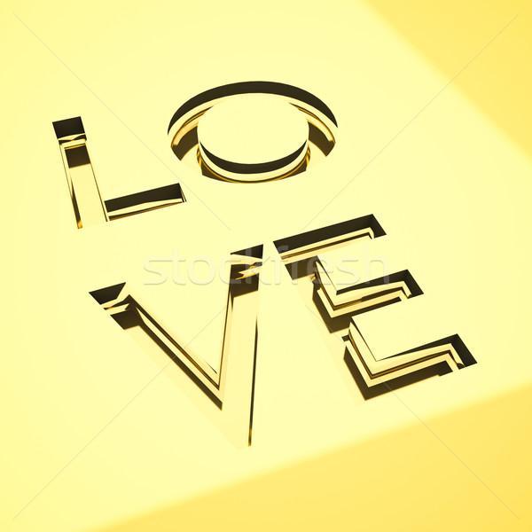 Amor conceitos gravado palavras superfície metálica projeto Foto stock © mtkang