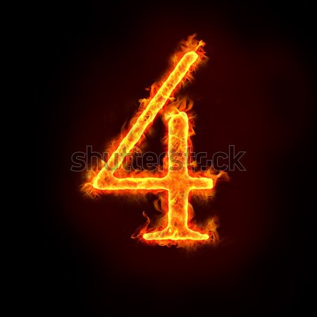 Stock photo: fire numbers in flames, four 4