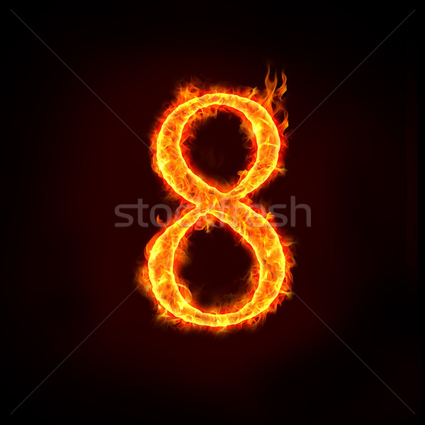 fire numbers in flames, eight 8 Stock photo © mtkang