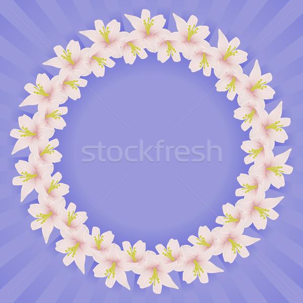 Ramki kwiaty kwiat niebieski różowy graficzne Zdjęcia stock © mtmmarek