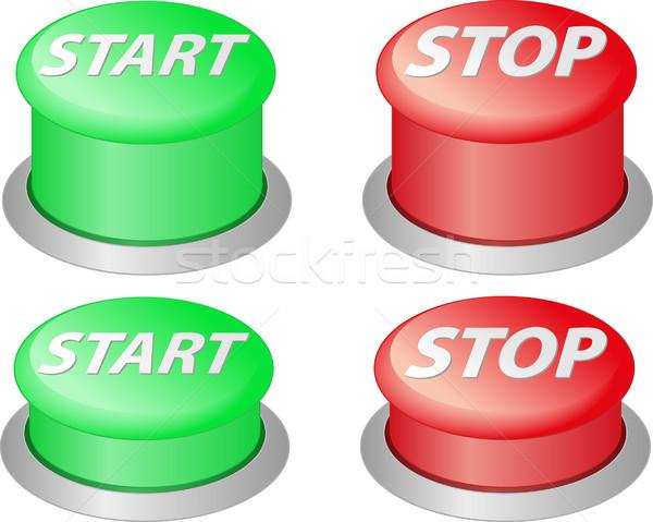 Początku stop czerwony zielone przyciski przycisk Zdjęcia stock © mtmmarek