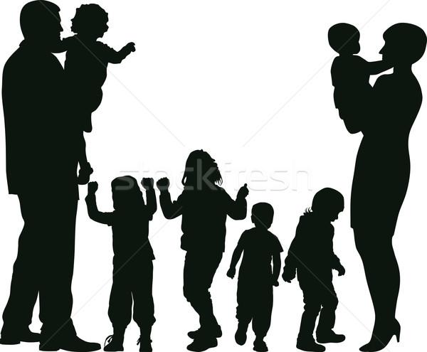 семьи силуэта большой женщину ребенка мальчика Сток-фото © mtmmarek