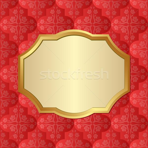 красный шаблон кадр фон золото Сток-фото © mtmmarek
