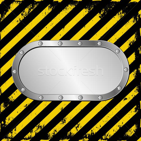 Gefahr Metall Plaque Warnung Band Zeichen Stock foto © mtmmarek