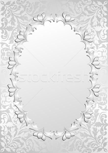 серебро цветочный кадр свет шаблон стиль Сток-фото © mtmmarek