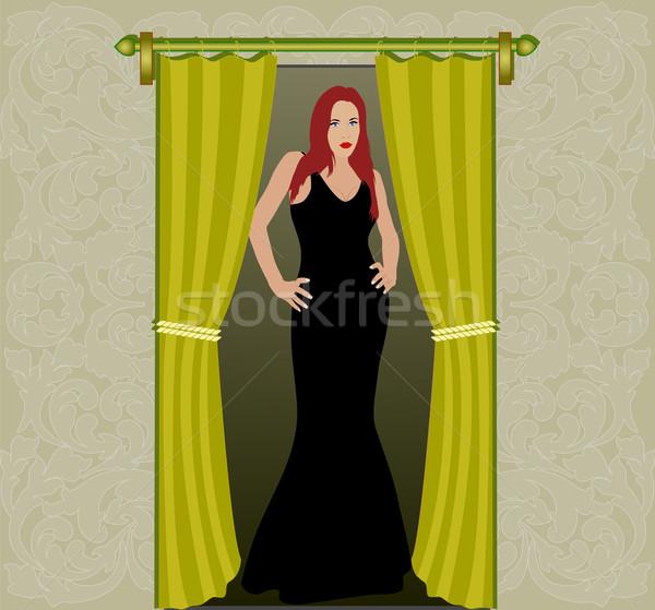 женщину дверной проем модель фон искусства звездой Сток-фото © mtmmarek