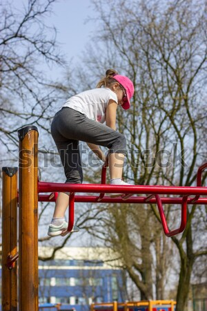 Lány játszik játszótér család arc gyermek Stock fotó © mtmmarek