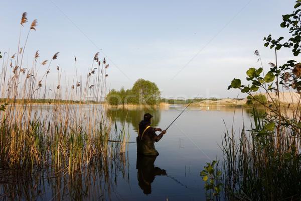 漁師 立って 湖 釣り竿 水 森林 ストックフォト © mtmmarek