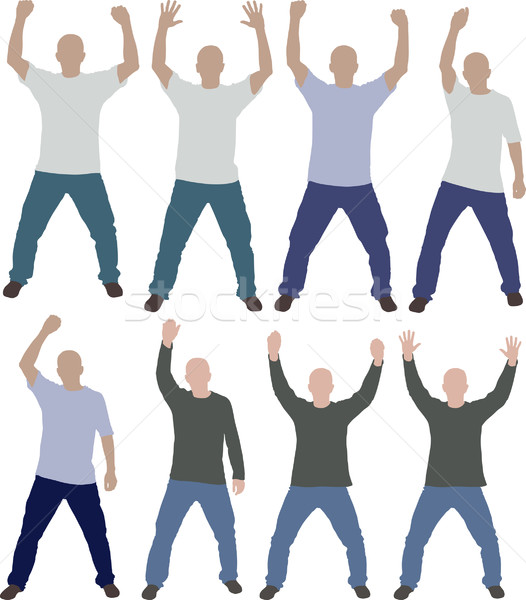 Handen omhoog man silhouetten handen silhouet succes Stockfoto © mtmmarek