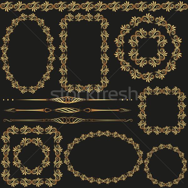 Terv elemek arany keret keretek művészet Stock fotó © mtmmarek