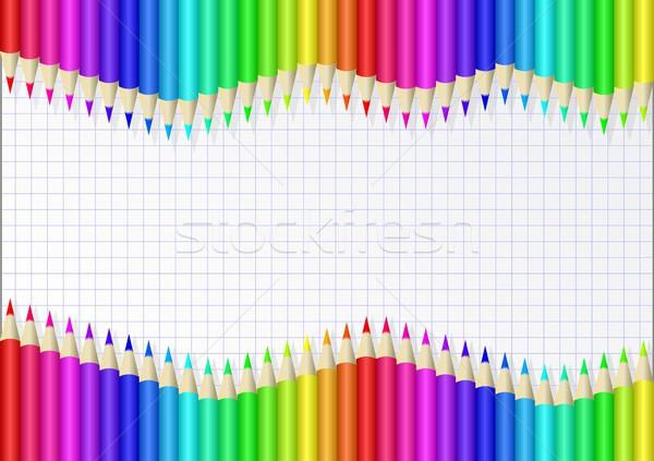 Boya kalemleri kalemler levha kâğıt boya Stok fotoğraf © mtmmarek
