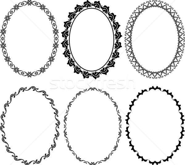 Quadros oval silhueta textura fundo quadro Foto stock © mtmmarek