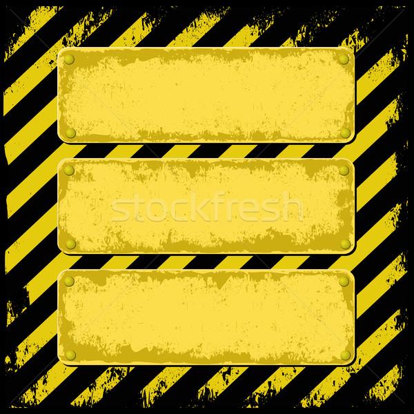 Drei Plaque gelb schwarz Grunge Text Stock foto © mtmmarek