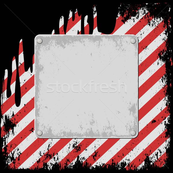 Hazard grunge podpisania czerwony tablicy Zdjęcia stock © mtmmarek