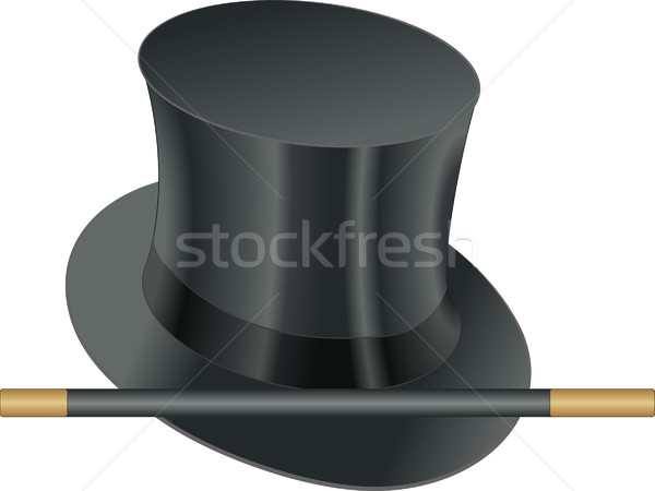 Varita mágica ilusionista sombrero hombre negro retro Foto stock © mtmmarek