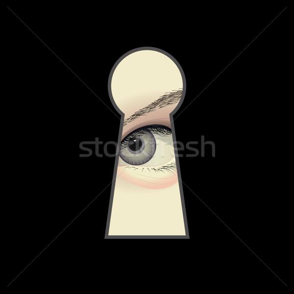 Casus göz anahtar deliği güvenlik sanat izlerken Stok fotoğraf © mtmmarek
