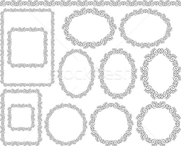 Ramki zestaw dekoracyjny projektu elementy tle Zdjęcia stock © mtmmarek