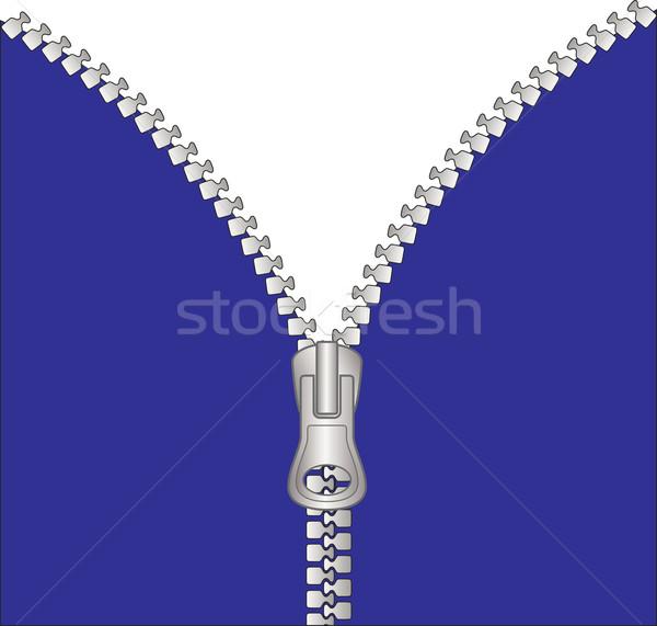 Fermuar Metal şeffaf uzay mavi kumaş Stok fotoğraf © mtmmarek
