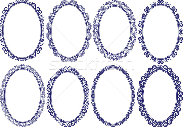 Quadros oval conjunto textura fundo quadro Foto stock © mtmmarek