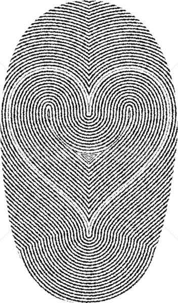 Impronte digitali cuore a forma di cuore amore nero silhouette Foto d'archivio © mtmmarek