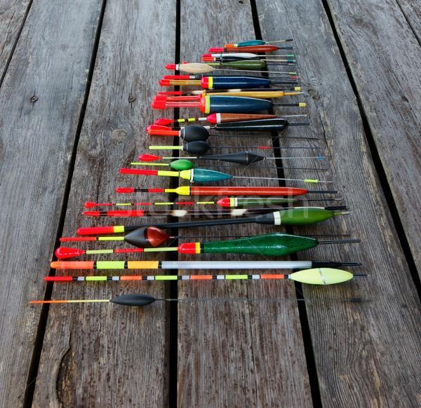 Halászat különböző formák fából készült háttér tó Stock fotó © mtmmarek