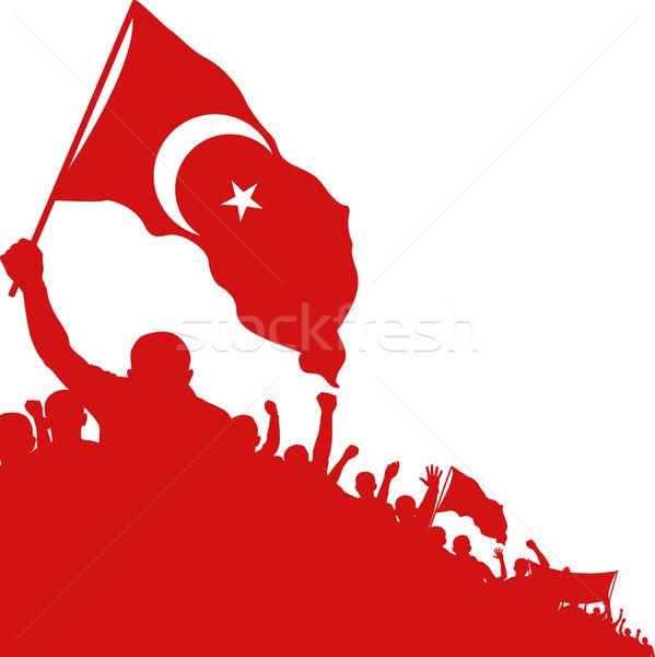 Ислам силуэта толпа символ флаг Сток-фото © mtmmarek