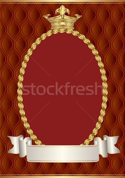 ヴィンテージ クラウン 装飾的な 国境 背景 赤 ストックフォト © mtmmarek