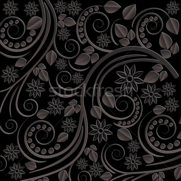 черный цветочный Мотивы цветы волна завода Сток-фото © mtmmarek