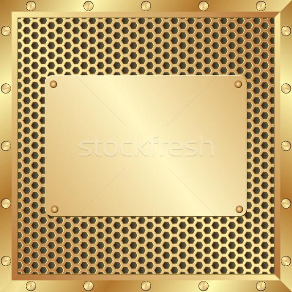 Metall Plaque golden Textur Design Technologie Stock foto © mtmmarek