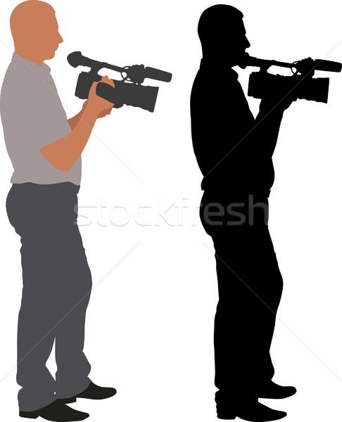 Caméraman silhouette homme fond art nouvelles Photo stock © mtmmarek