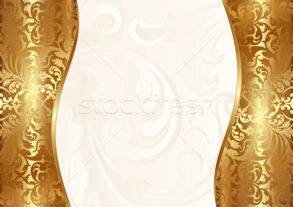 Glamour cremig Gold Raum Platte Jahrgang Stock foto © mtmmarek