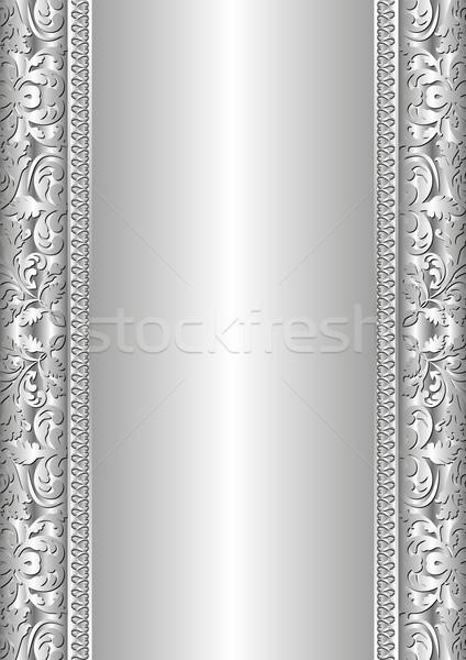 Gümüş soyut süsler arka plan çerçeve uzay Stok fotoğraf © mtmmarek