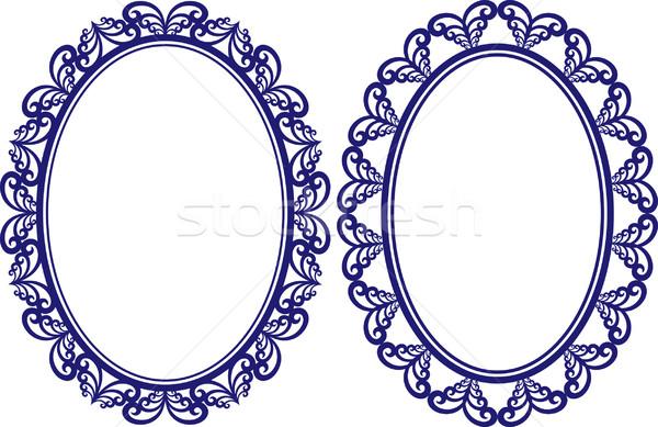 Oval çerçeve ayarlamak iki bağbozumu kareler Stok fotoğraf © mtmmarek