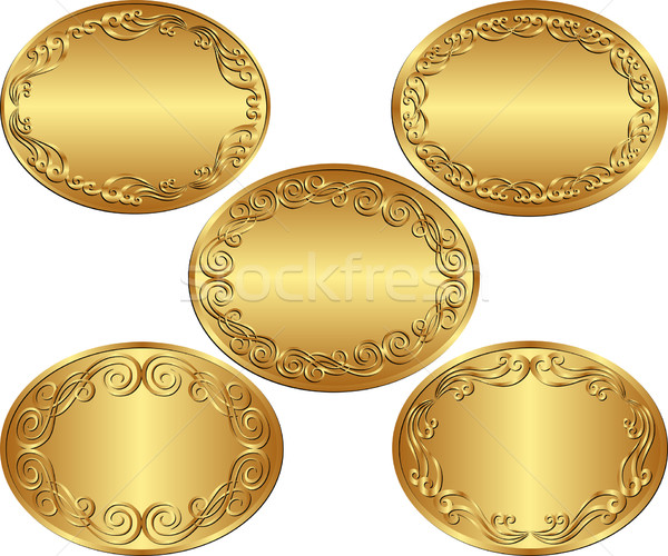 Oval arka ayarlamak altın doku soyut Stok fotoğraf © mtmmarek
