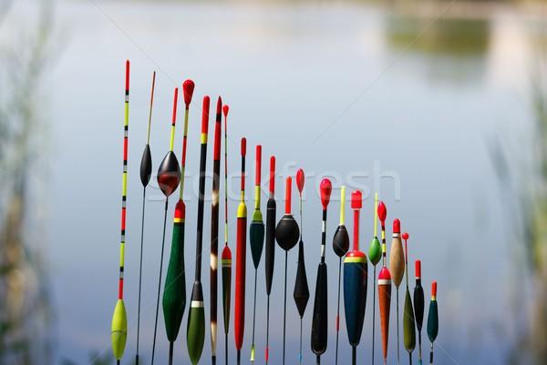 Halászat különböző formák elmosódott víz háttér Stock fotó © mtmmarek