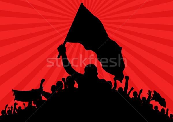 Silhouet vlaggen banner abstract achtergrond recht Stockfoto © mtmmarek