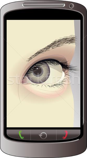 Teléfono móvil ojo pantalla nina teléfono ver Foto stock © mtmmarek